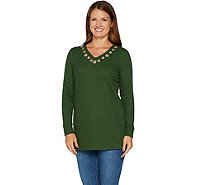 Quacker Factory Long Sleeve Waffle Knit Rose Gold Grommet Tunic - A292694