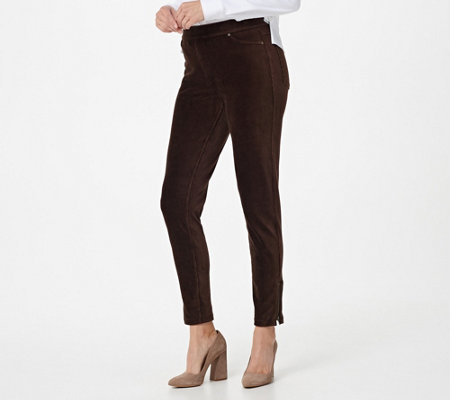 """As Is"" Susan Graver Petite Knit Corduroy Straight Leg Pull-On Pants"