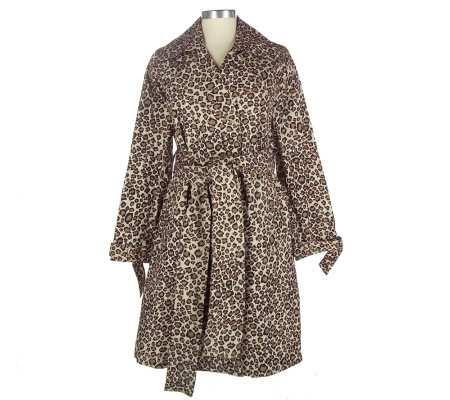 Dennis Basso Leopard Print Belted Trench Coat