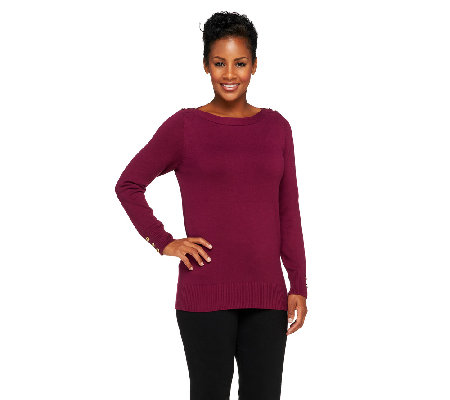 Susan Graver Boat Neck Long Sleeve Sweater with Buttons