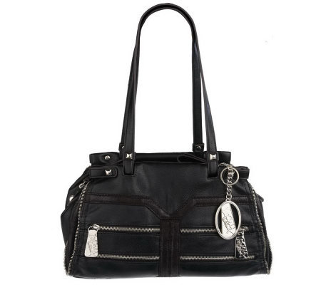 KathyVanZeeland Luxury Zip Top Satchel with Zipper Pockets