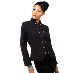 Luxe Rachel Zoe Mandarin Collar Military Blazer with Button Detail - A223095