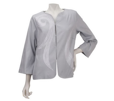 Bob Mackie's Asymmetrical Swirl Embroidered and Sequin Jacket