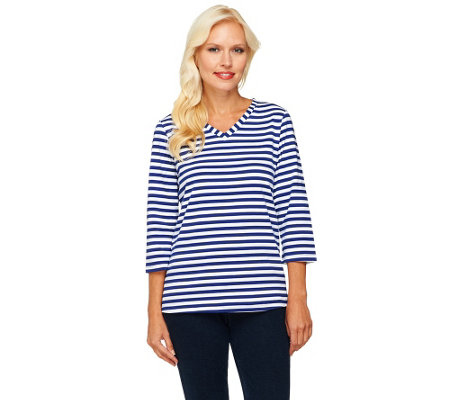 Denim & Co. 3/4 Sleeve V-Neck Striped Knit Top