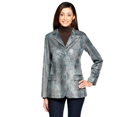 Dennis Basso Faux Leather Python Print Jacket