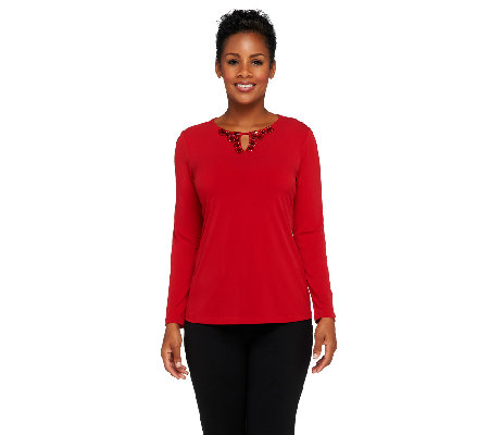 Susan Graver Liquid Knit Bateau Neck Top w/ Keyhole Embellishments