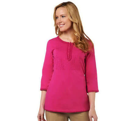 """As Is"" Isaac Mizrahi Live! 3/4 Sleeve Embroidered Knit Tunic"