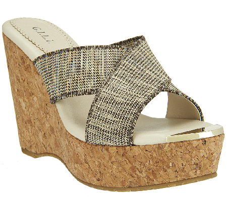 G.I.L.I. Criss-cross Wedge Sandals w/ Gold Toe - Jaqui