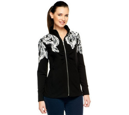 """As Is"" Susan Graver French Terry Placement Print Zip Front Jacket"