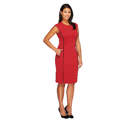 Joan Rivers Petite  Ponte Knit Sheath Dress w/ Faux Leather Trim