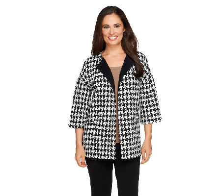 Joan Rivers Houndstooth Statement Coat with 3/4 Sleeve