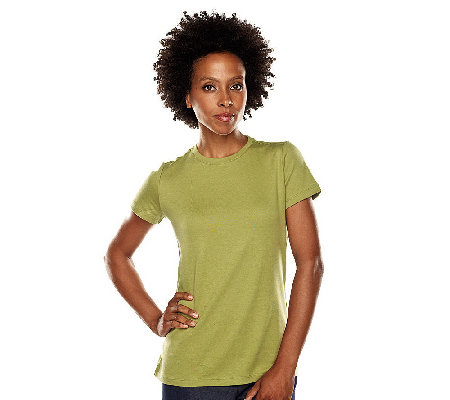"""As Is"" Isaac Mizrahi Live! Essentials Neck Knit Tee"