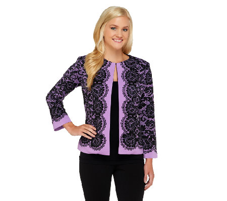 Bob Mackie's Placement Print Lace Jacket