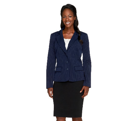 Linea by Louis Dell'Olio Button Front Pinstripe Jacket