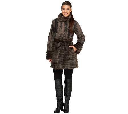 Dennis Basso Platinum Collection Faux Broadtail Skirted Coat