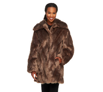 Dennis Basso Platinum Collection Chevron Pelted Faux Fox Coat - A260395
