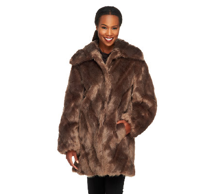 Dennis Basso Platinum Collection Chevron Pelted Faux Fox Coat