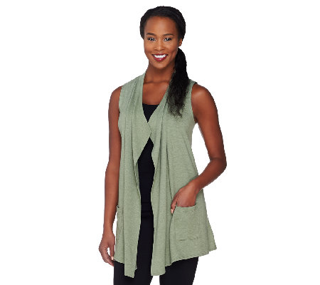 LOGO Lounge by Lori Goldstein French Terry Vest with Tiered Chiffon