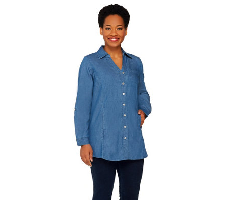Denim & Co. Stretch Denim Tunic w/ Welt Pockets