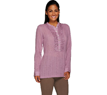 LOGO by Lori Goldstein Knit Top with Embellished Front Placket