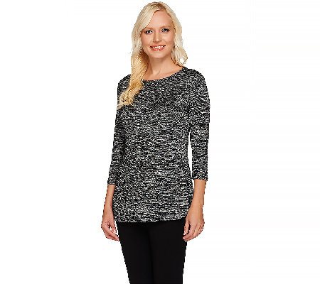 LOGO by Lori Goldstein 3/4 Sleeve Space Dye Top with Hi-Low Hem
