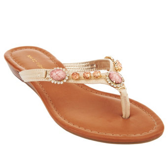 Marc Fisher Thong Sandals w/ Jewel Embellishments - Liliana - A266495