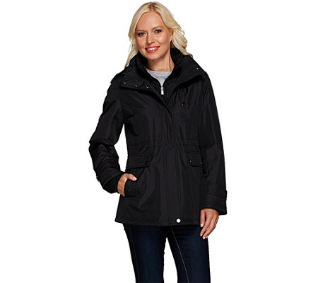 Liz Claiborne New York Zip Front Anorak Coat w/ Quilting