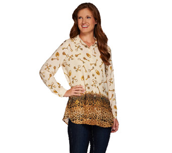 Susan Graver Printed Feather Weave Button Front Shirt - A267995