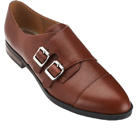 Marc Fisher Leather Monkstrap Flats - Fawna
