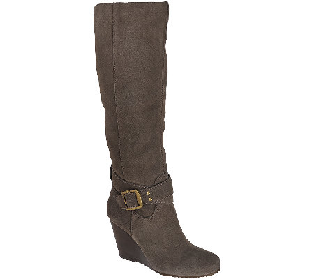 Sole Society Suede Tall Shaft Wedge Boots - Valentina