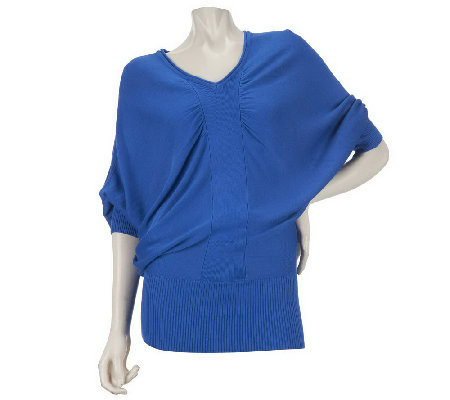 """As Is"" Motto Dolman Sleeve V-Neck Draped Sweater"