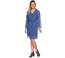 H by Halston Printed V-neck Long Sleeve Woven Dress with Tie Belt - A273295