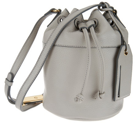 Isaac Mizrahi Live! Nolita Pebble Leather Mini Bucket Handbag