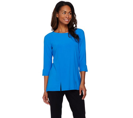 Dennis Basso Caviar Crepe Top with Front Slits