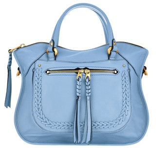 orYANY Pebble Leather Satchel with Braiding Detail - Sarah - A275195