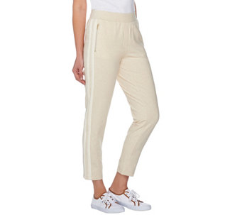 Isaac Mizrahi Live! SOHO Knit Ankle Pants w/ Racing Stripe Detail - A275495