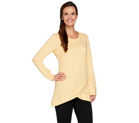 LOGO Lounge by Lori Goldstein French Terry Top with Asymmetric Hem