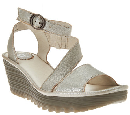 FLY London Leather Asymmetrical Strap Wedge Sandals - Yesk