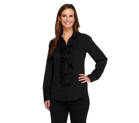 """As Is"" Isaac Mizrahi Live! Button Front Top with Ruffle Detail"