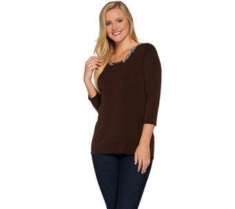 Susan Graver Liquid Knit Top with Printed Back - A277795