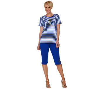 Quacker Factory Summer Sequined T-shirt and Pedal Pusher Set - A278295