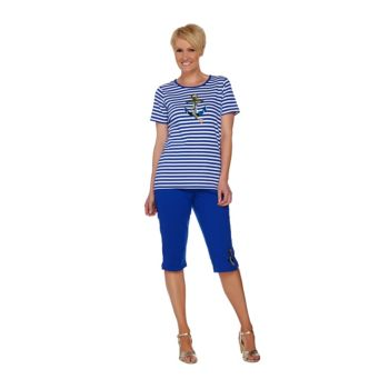 Quacker Factory Summer Sequined T-shirt and Pedal Pusher Set