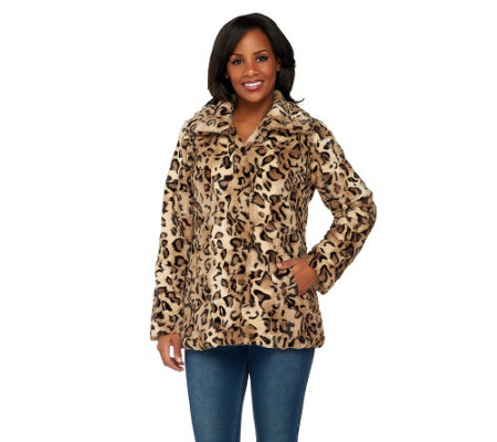 """As Is"" Dennis Basso Animal Printed Textured Faux Fur Coat"