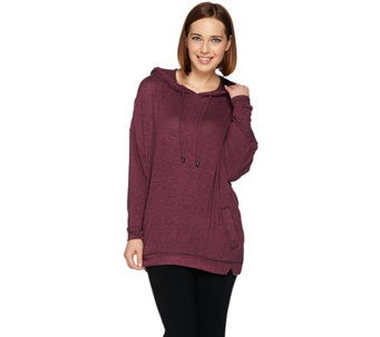 AnyBody Loungewear Brushed Hacci Hooded Sweatshirt - A281195