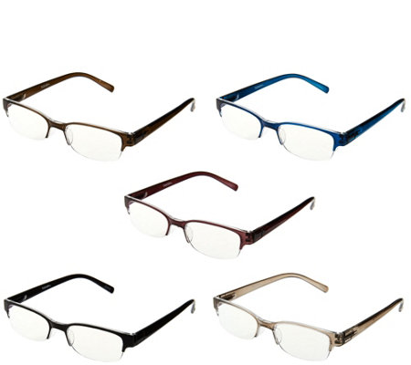 Tashon Rimless Readers with Anti-Glare Set of 5 Strength 1-2.5