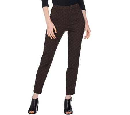 Susan Graver Jacquard Pull-On Slim Leg Ankle Pants