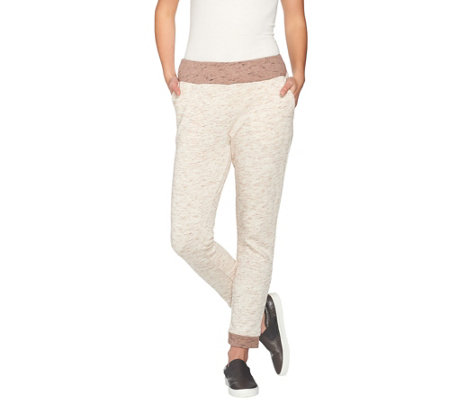 """As Is"" LOGO Lounge by Lori Goldstein French Knit Space Dye Pants"