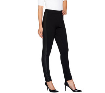 Studio by Denim & Co. Ponte Knit Pull on Pants with Faux Leather - A284495