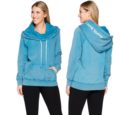 Peace Love World Fleece Knit Hoodie with Kangaroo Pocket