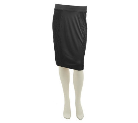 """As Is"" George Simonton Knit Pencil Skirt with Side Lace Insets"